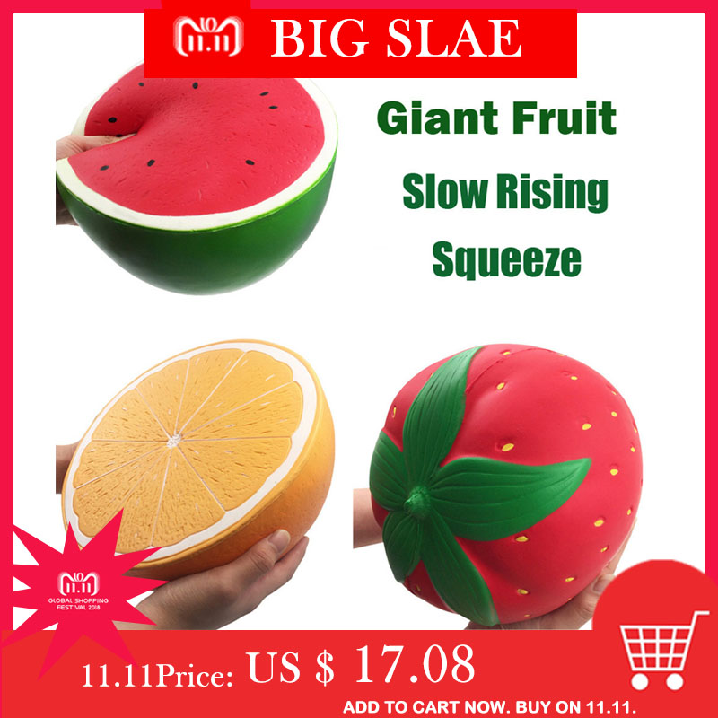 цена на Jumbo Squishy Squish Super Giant Soft Watermelon Orange Strawberry Peach Slow Rising Stress Relief Toy Squeeze Fun Kids Toys New
