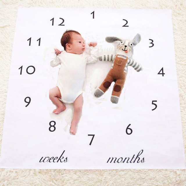 Newborn infant baby milestone blanket photography prop letter backdrop cloth boy girl photography size 100x100cm