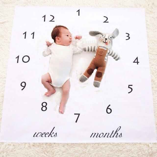 Newborn infant baby milestone blanket photography prop letter backdrop cloth boy girl photography size 100x100cm