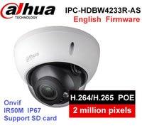 Dahua 2MP Camera IPC HDBW4233R AS IR Mini Dome Network camera Audio SD card Stellar H.265 Poe IP function cctv system