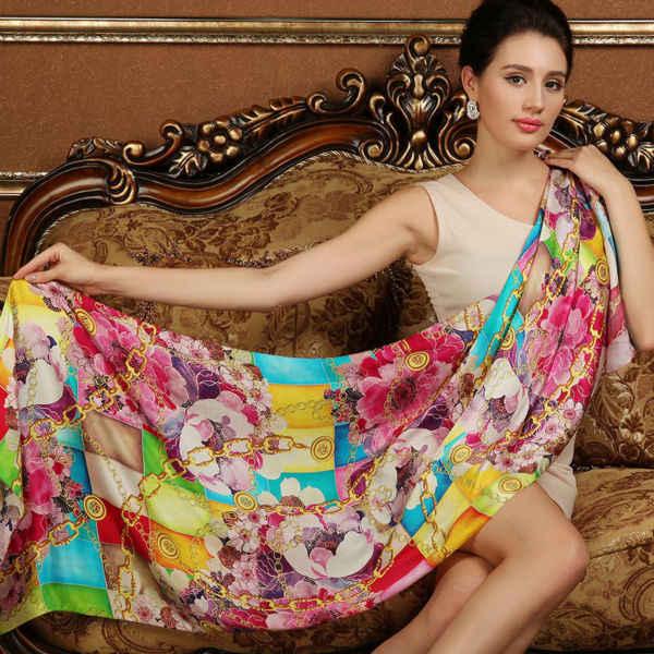 Inverno de alta qualidade 100% real silk Scarf Shawl enrole hijab para as mulheres senhora moda feminina Cachecóis 175*52 cm