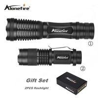 Alonefire confezione regalo e007 + sk68 ad alta potenza torcia tattica testa luci ultra luminoso led handheld flashlight portatile all'aperto