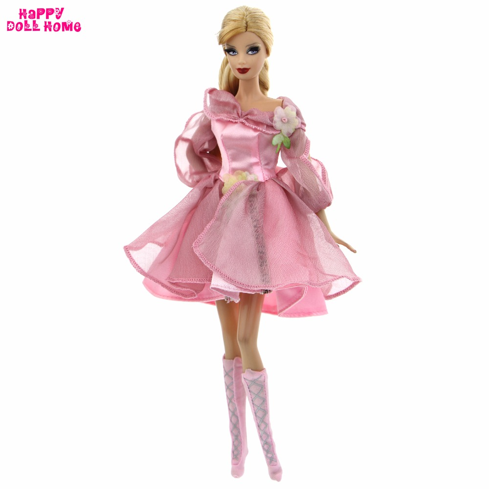 Elegant Lady Dress Handmade Wedding Party Costume Pink Flower Lace Skirt Shoes Clothes For Barbie Doll Accessories Kids Toy Gift high quality wedding dress doll 45cm 55cm beautiful elegant pink feather dhl or fedex