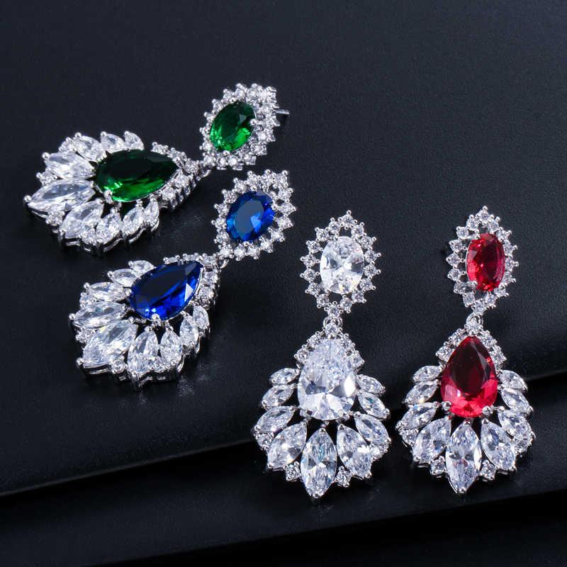 0af81dced ... ThreeGraces Vintage Bridal Earring Big Chandelier Cubic Zirconia Pave  Deep Red Stone Women Long Drop Earrings ...