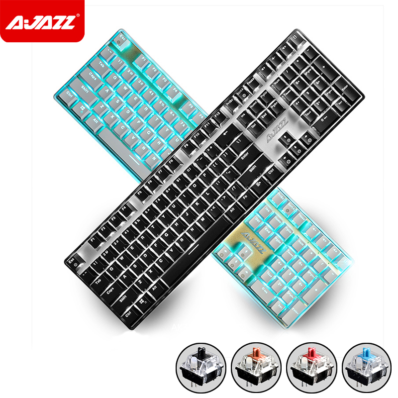 New 108 Keys Ajazz AK33i Wired LED Backlit Usb Ergonomic illuminated Mechanical Gaming Keyboard Gamer Multimedia Laptop Computer new 104 keys ajazz ak35i wired white led backlit usb ergonomic illuminated mechanical gaming keyboard gamer for laptop computer page 5