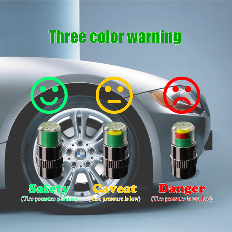 ZD 4Pcs Car Warning Pressure Tire Wheel Air Valve Caps Cover For Ford Focus 2 3 Fiesta Mondeo Ranger Kuga Seat Leon Ibiza Lexus