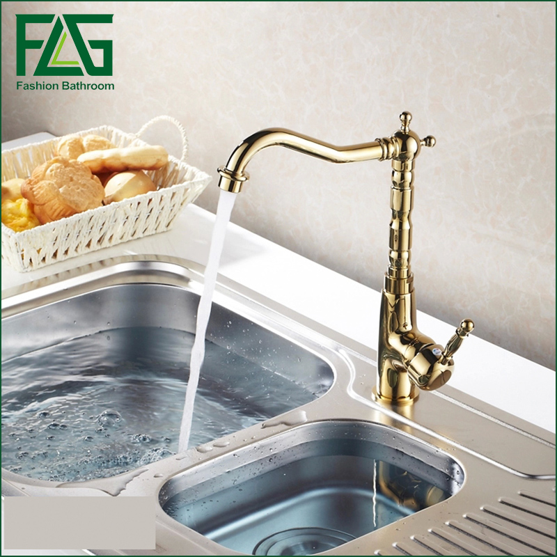 Hot Sale Kitchen Faucet Gold Brass Swivel Bathroom Basin Sink Mixer Tap torneiras para pia de