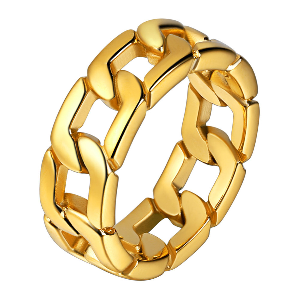 Schmuck & Zubehör Sanft Kpop Edelstahl Kubanischen Kette Ring Gold/silber/schwarz Farbe Männer Schmuck Verlobung Hochzeit Ring Für Männer Größe 7-12 Gr977 Fabriken Und Minen