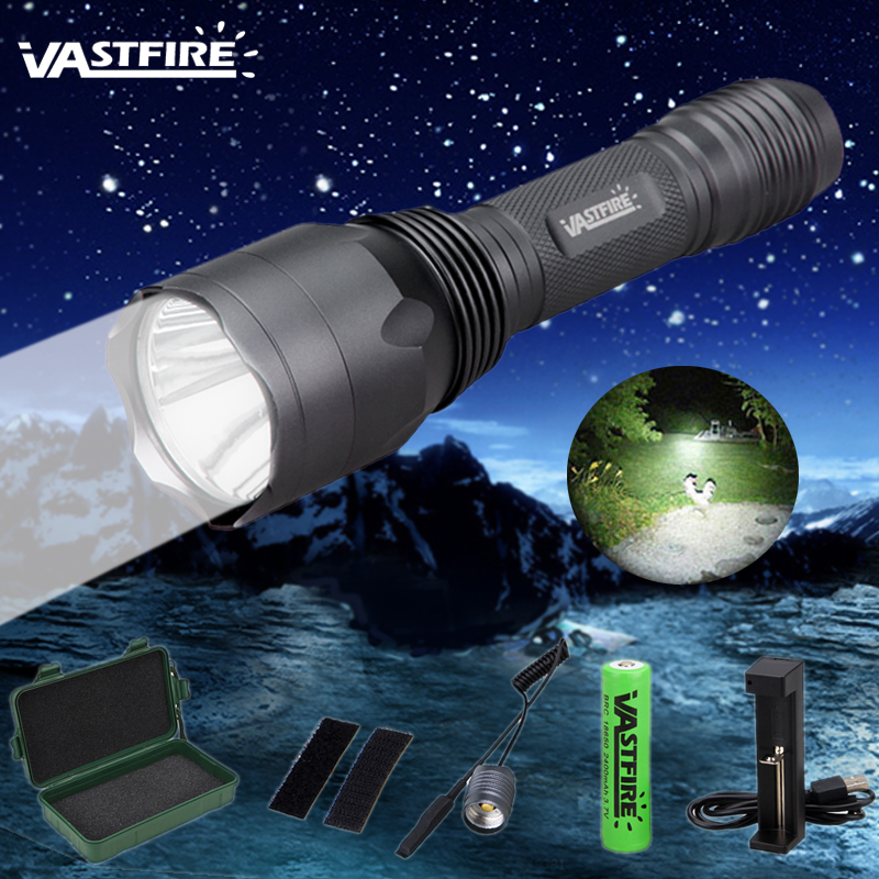 C10 1 Mode White light 1000 LM Hunting Flashlight Spotlight Camping Torch Lamp+18650 battery+Remote Pressure Switch