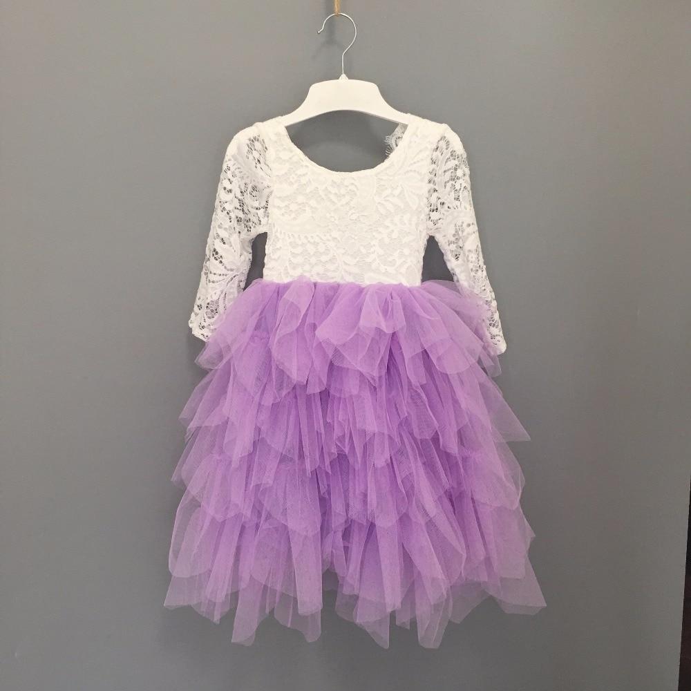 New Girls Summer Long Beach Dress Kids Lace Tiered Tulle Long Sleeve Wedding Bridal Veil Children