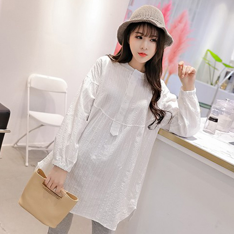 White long sleeve shirt tops For Pregnant Women
