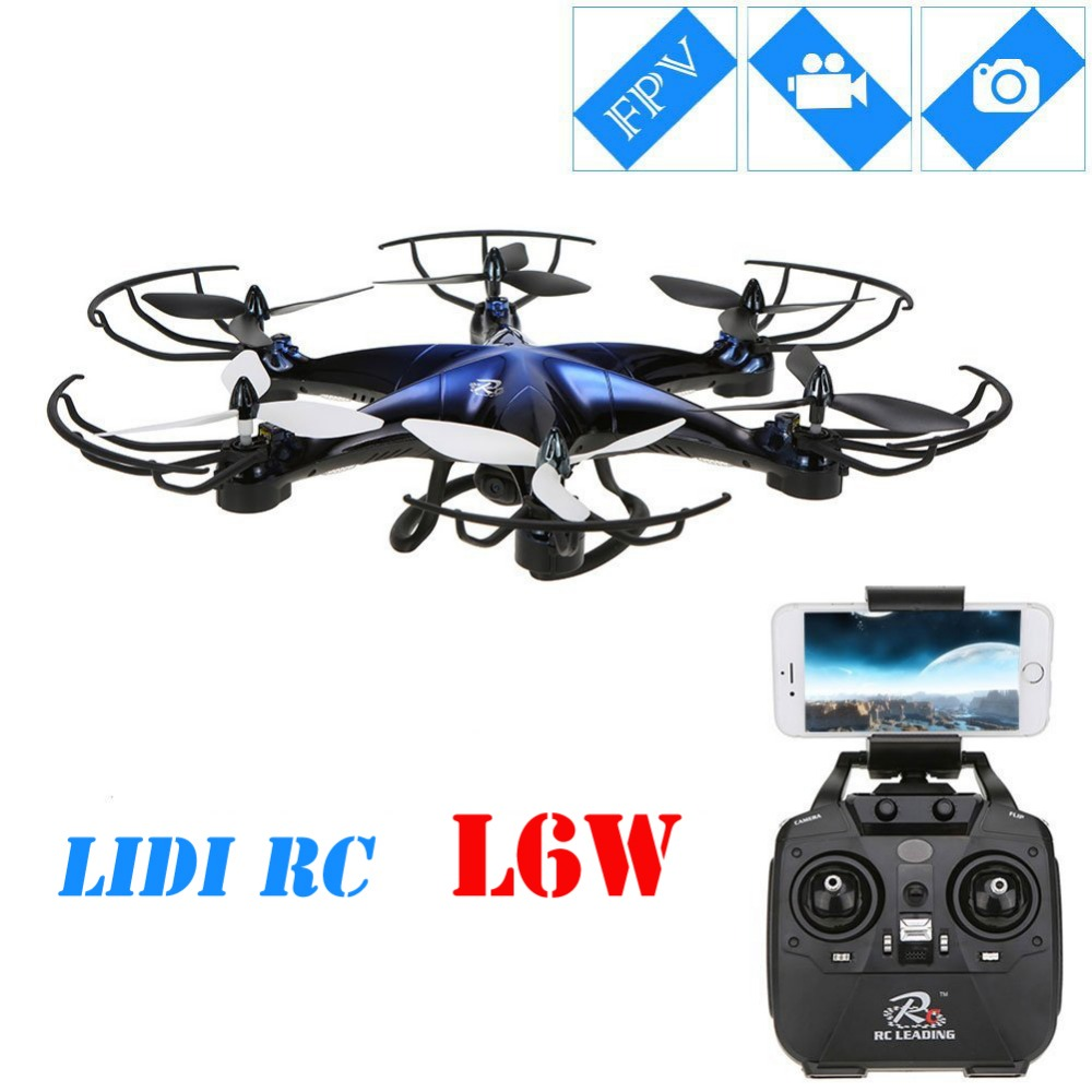 LiDi RC L6W WIFI 2.4G 4CH 6 Axis Gyro RC Multicopter with 2MP WIFI 3D Roll Quadcopter LED Plane Model Toys FPV RC Quadcopter