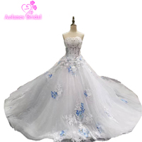 2018 Spring Summer Romantic Luxury Flowers Bow Lace Appliques Glitter Tulle Tiffany Blue Wedding Dresses White