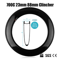 Catazer 700C 23mm 88mm Clincher V Shape Wide Full Carbon Fiber Road Bike Rim Wheel For