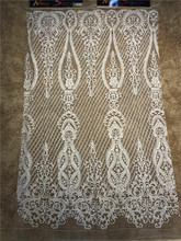 New arrivals 2018 embroidered net lace fabric for wedding dress hot sale African french guipure beaded 5 yards