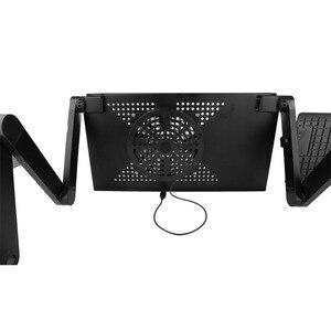 Image 3 - Регулируемый портативный эргономичный складной компьютерный стол из сплава, складной настольный поднос с ковриком для мыши для коммерческих целей