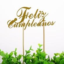 Cake Flag Espanol DIY Spainish Feliz Cumpleanos Topper Happy Birthday Glitter Gold Silver Party Baking Troopers Xmas
