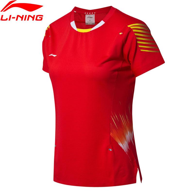T-Shirts de compétition de Badminton pour femmes li-ning à la doublure de Sponsor de l'équipe nationale sèche aux T-Shirts de sport bactéries AAYN006 WTS1454