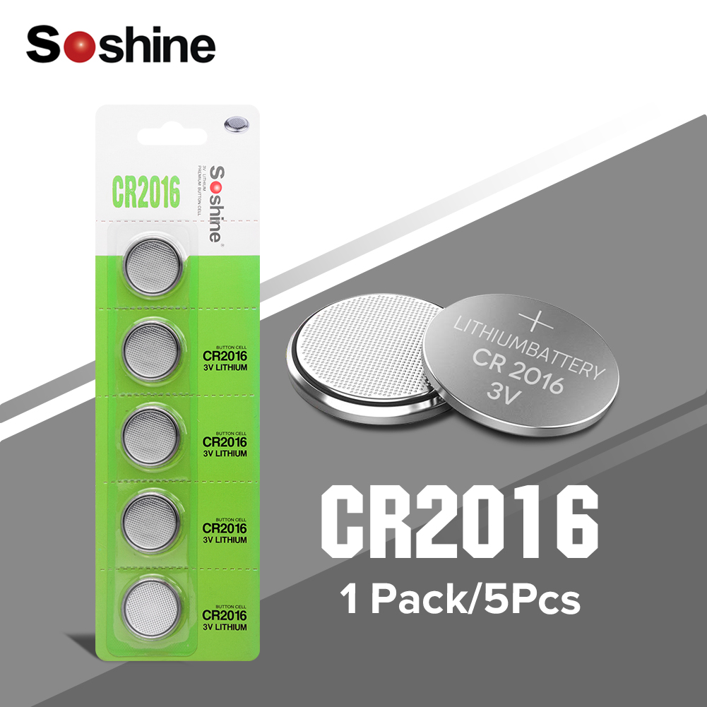 Soshine 5PCS/lot CR2016 3V Lithium li-liom Battery DL 2016 ECR2016 LM2016 BR2016 CR 2016 Button cell Coin Batteries watch toys image