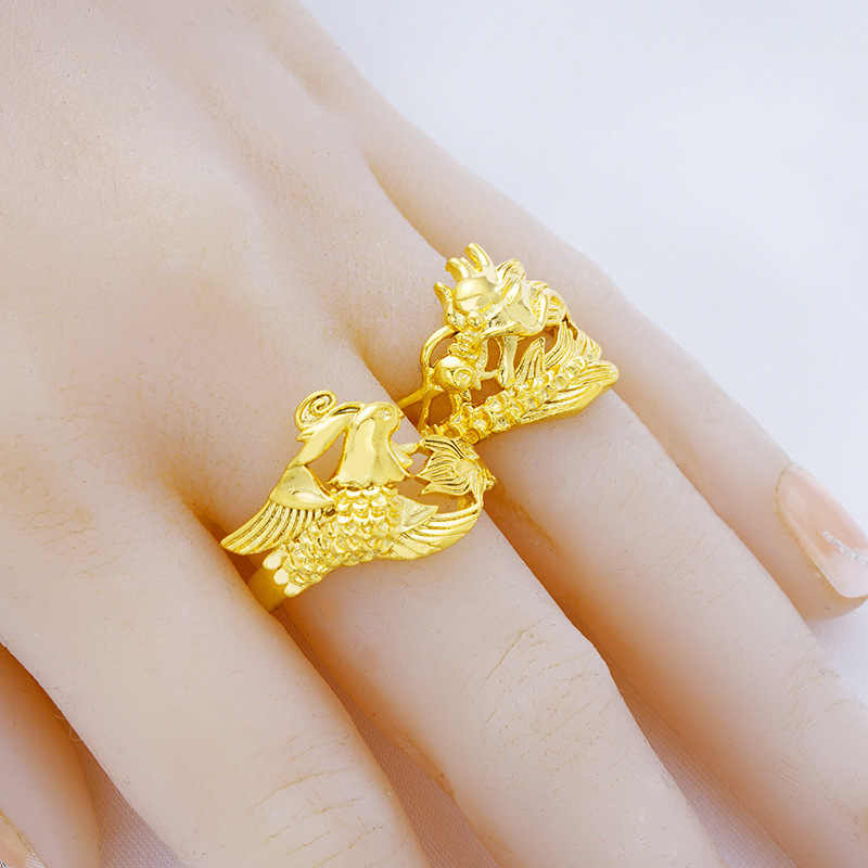 faf47b2185 ... Charms Chinese Mythology Dragon Phoenix Style Open Rings for Women Men  24K Gold Wedding Rings Adjustable