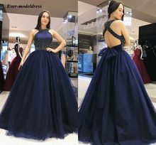 09fdb48b6cd Elegant Bridesmaid Dresses 2019 Dark Davy Halter Backless Beaded Ball Gown  Wedding Guest Party Gowns Country vestido de festa