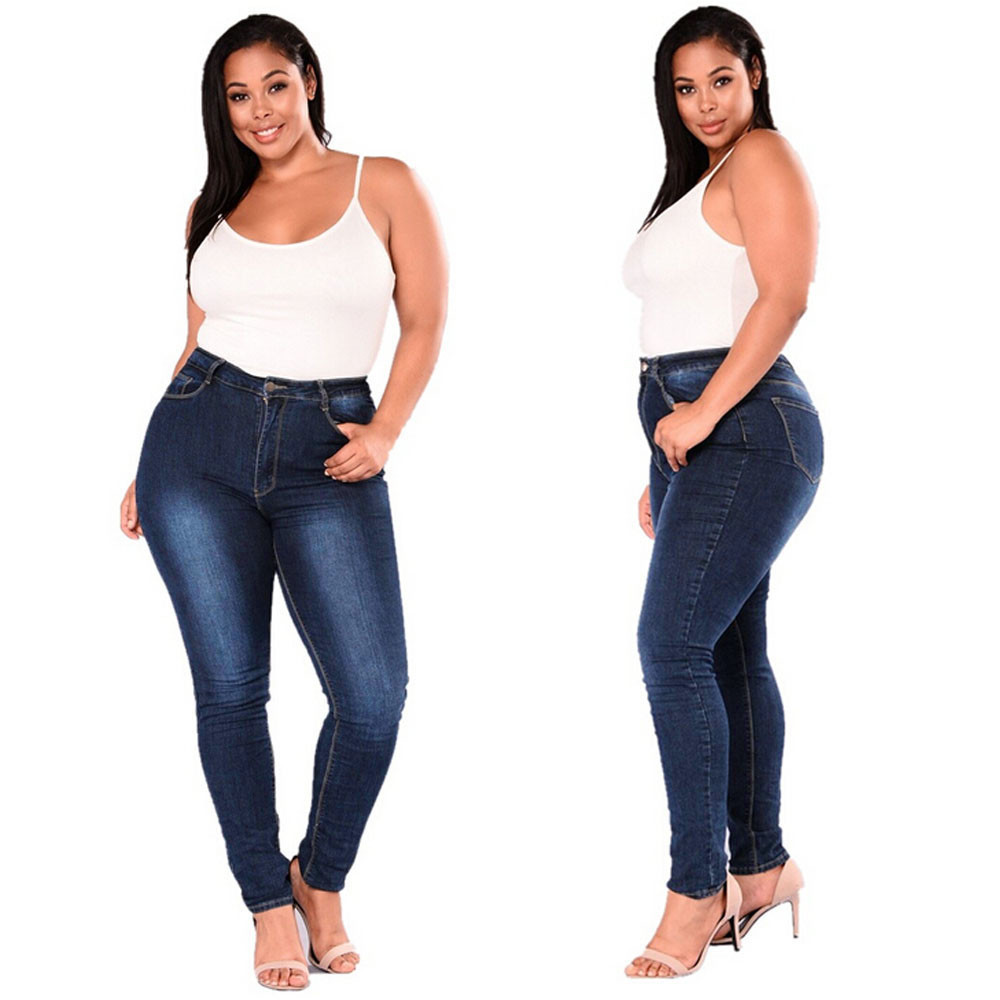 Women Plus Size Stretch Slim Denim Skinny   Jeans   Pants High Waist Pencil Trousers W0319