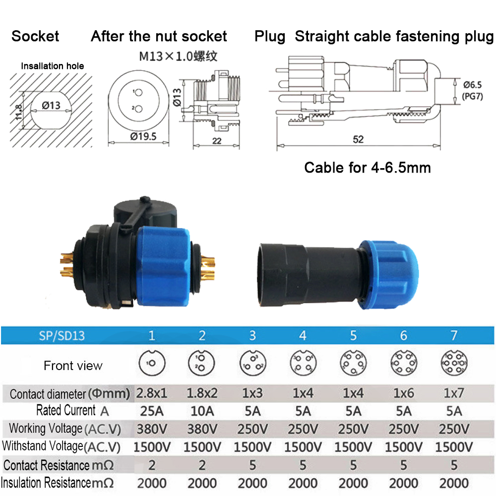 SP13 Waterproof IP68 Chassis Panel Mount Circular Aviation Plug Cable Connector`