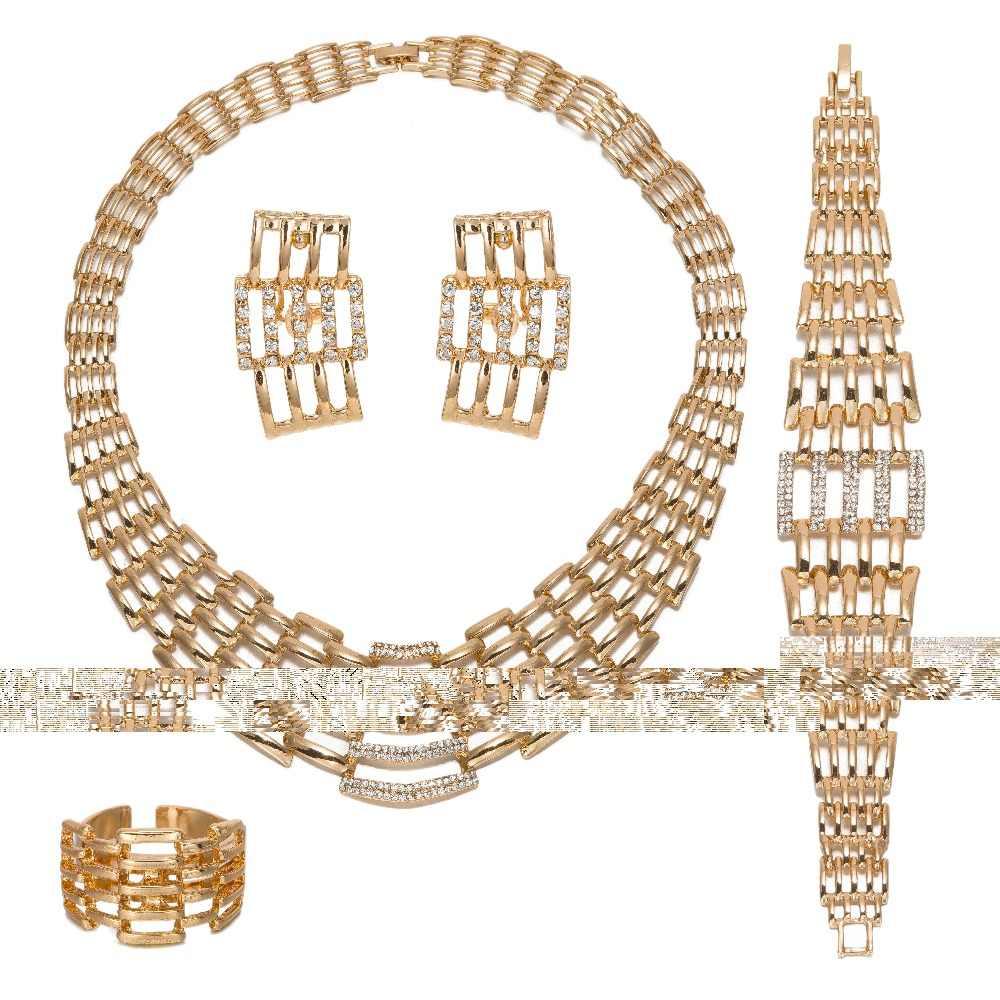 MUKUN Frauen Braut Nachgeahmt Kristall Schmuck Sets Für Hochzeit Afrikanische Zubehör Set Ohrringe Anhänger Halskette Ringe