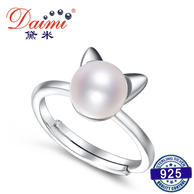 DAIMI 925 Sterling Silver Ring New Lucky Cat Ring 7-8mm White Freshwater Pearl Ring Brand Jewelry Gift For Women brand white shell crystal star chain ring 925 sterling silver pearl shell rose compass cuff ring women wedding vents jewelry