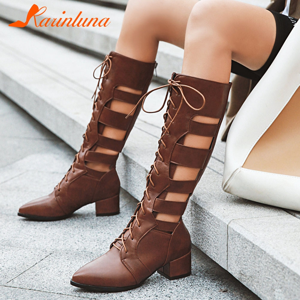 KARINLUNA New Fashion Women Shoes Plus Size 33-46 Gladiator Ladies Hollow Pointed Toe Party Summer Mid Calf Boots Shoes WomanKARINLUNA New Fashion Women Shoes Plus Size 33-46 Gladiator Ladies Hollow Pointed Toe Party Summer Mid Calf Boots Shoes Woman