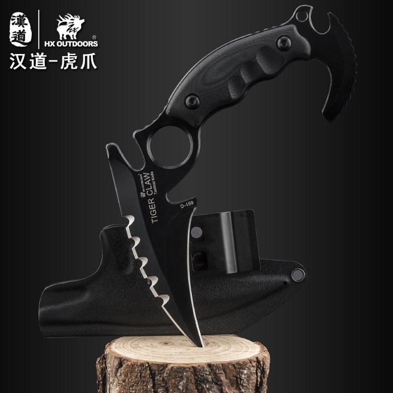 HX OUTDOORS Tiger Claw Knife D2 Blade G10 Handle Camping Karambit - Herramientas manuales - foto 4