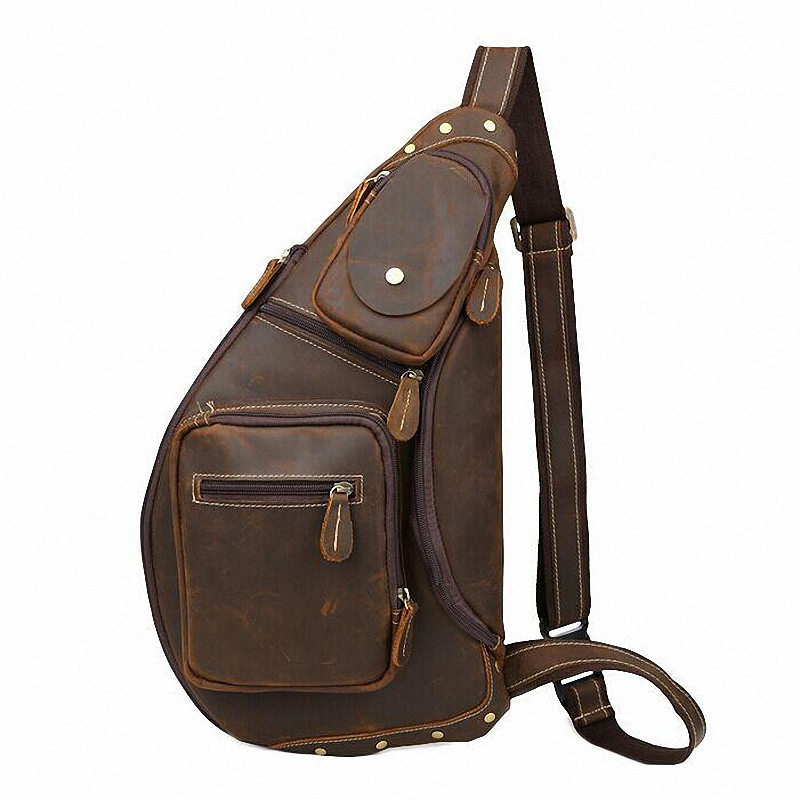 ФОТО New male chest bags High Quality Vintage Casual Crazy Horse Leather Genuine Cowhide Men Chest Bag Messenger Bags For Man LI-1096