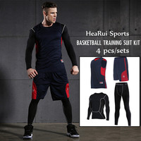 Men's Basketball Training Suit Set 4pcs High Quality Throwback College Basketball Jersey Quick Dry Compression Tights Leggings