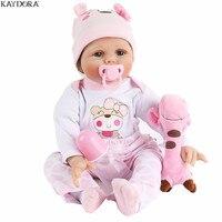 KAYDORA Reborn Baby Dolls 22 Inch 55cm Soft Silicone Vinyl Realistic Lifelike Toddler Bonecas Newborn Doll Toys For Girls