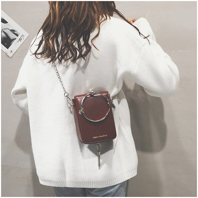 2018 Bolsas Feminina Bolsos Mujer New Design Female Metal Tassel Ring Shoulder Diagonal Package Mini Small Square Mobile Wallet