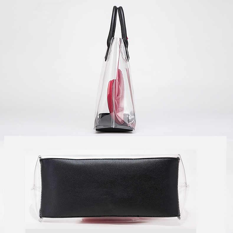 0534d6e660db ... Fashion New Brand Transparent PVC Large Women Handbag and Purse Heart Summer  Female Composite Bag Designer ...