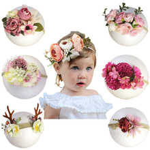 Baby Girl Flower Crown Elastic Headband Stretch Bands Infnat Kids Photography Props Accessories Toddler Hair  Wear Handmade