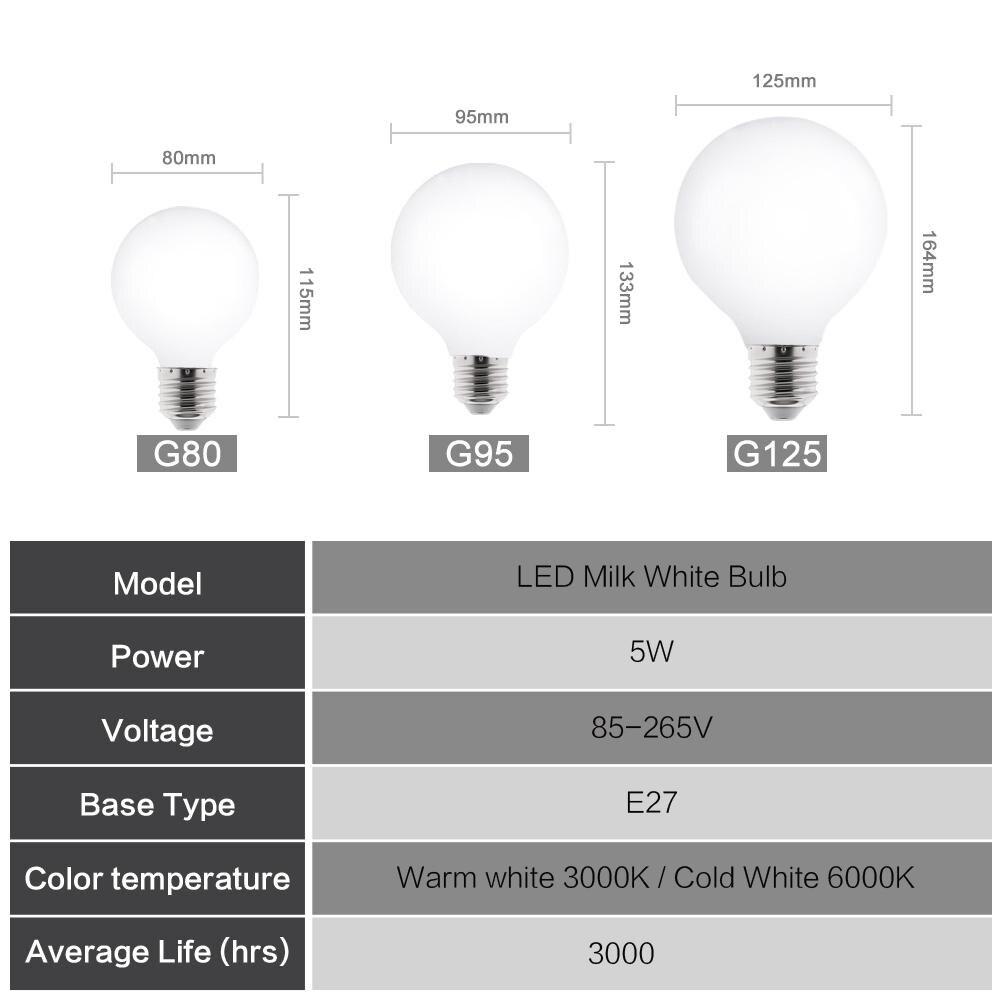 Image 3 - Milky LED Light Bulb E27 220V 110V Lampada G80 G95 G125 LED Lamp Ampoule LED Bulb Cold White Warm White for pendant lamp-in LED Bulbs & Tubes from Lights & Lighting
