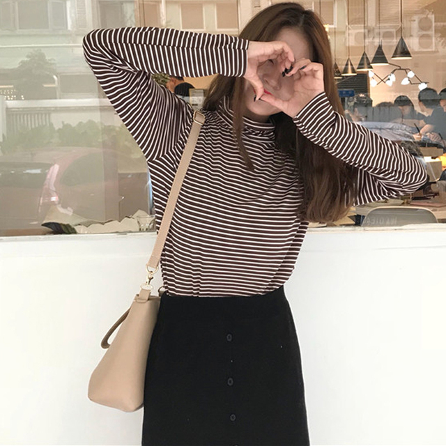 c790c5c0b2a New Spring Autumn T-shirt For Women Striped Turtleneck Long Sleeve Tees  Casual Shirts Pullover