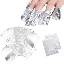 50/100 pz/borsa Foglio di Alluminio Unghie artistiche Impregna fuori dallo Smalto di Rimozione Del Chiodo Avvolge Asciugamano Chiodo Gel Polish Remover Manicure Strumento