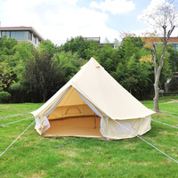 India yurt light khaki cotton canvas bell tent with stove jacket on the wall, cotton canvas tent bell tent family tent 4m/5m dia