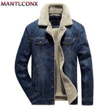 MANTLCONX Winter Men Jeans Jacket and Coat Warm Fleece Thick Denim 2019 Fashion Mens Jean Male Outwear 6XL