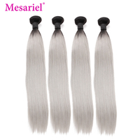 Mesariel Brazilian Hair Weave Bundles 1B/ Grey Straight Human Hair 1/3/4 Bundles Ombre Gray 100% Remy Hair Extension