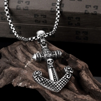 Tough Guy Vintage Titanium Skull Anchor Charms 316L Stainless Steel Link Chain Necklaces For Men Punk