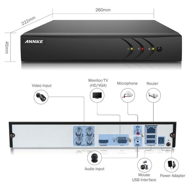 ANNKE 4CH AHD 5 IN 1 Security DVR System HDMI 1280*720 1500TVL AHD Weatherproof Outdoor CCTV Camera 1.0MP AHD Surveillance Kit