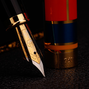 Image 3 - Color mosaic illustration Iraurita Fountain Pen Full metal Golden Clip luxury ink pens Caneta Stationery Office supplies 1014