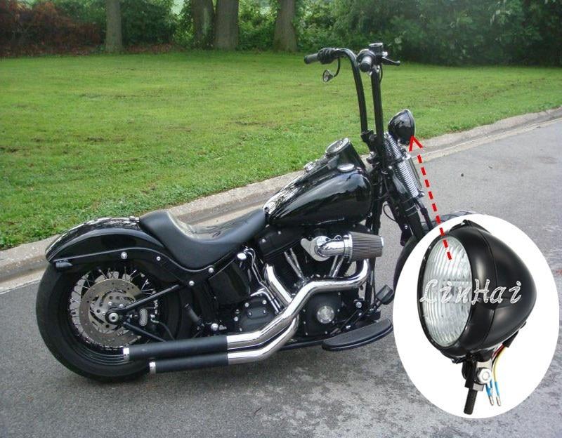 Черный круглый металлический Бейтс Нижний Кронштейн 10 мм Высокая Низкая фара подходит для Harley Softail Спрингер
