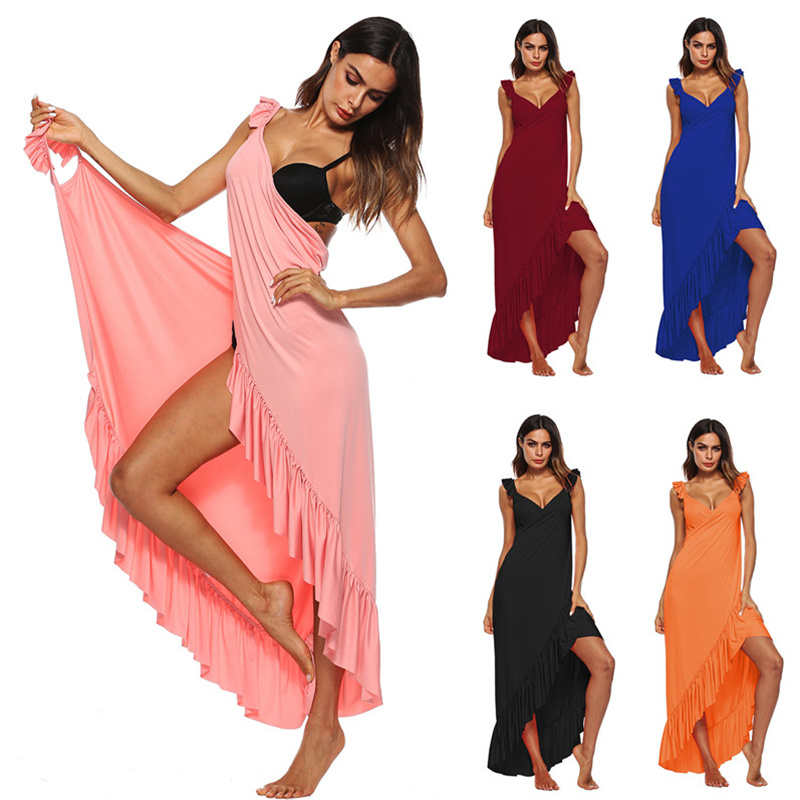 Sexy Strand Tunika Wrap Kleid Bademode Cover Up Solide Backless Sleeveless Langen Rock Sommer Frauen Sarong Plage Pareo De Playa a1