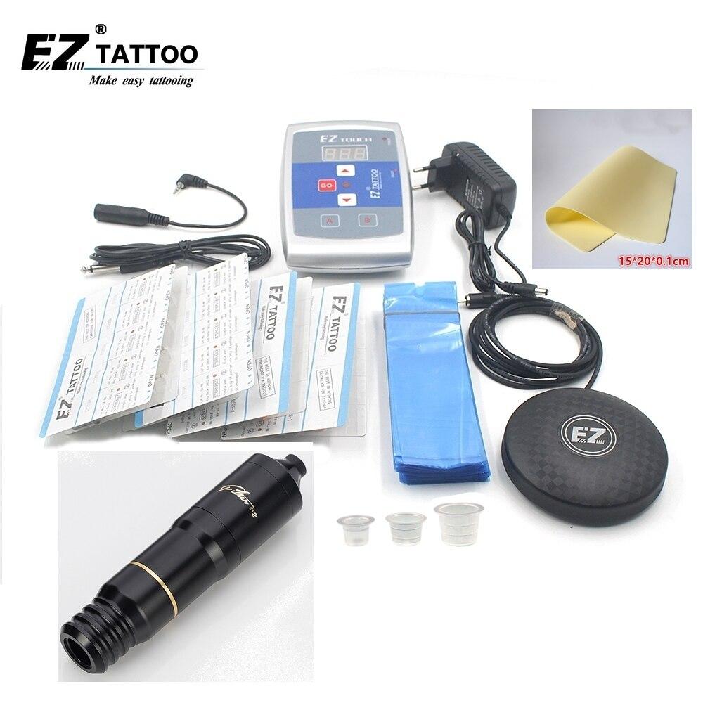 EZ Tattoo Kits Filter Swiss Maxon motor Pen Cartridge Tattoo Needles Foot Switch Power Supply Ink Cups for tattooist 1 set/lot цены онлайн