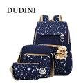 DUDINI 4 Cores Marca 3 peças Conjuntos Estrela Mulheres Mochila Impressão Mochilas bolsa de Ombro Bolsa de Lona Sacos de Escola para Meninas Adolescentes